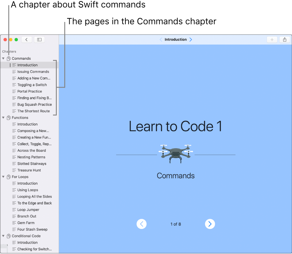 The first slide of the Introduction to Commands in the Learn to Code 1 playground. The sidebar is open, showing all the chapters and pages in the playground.