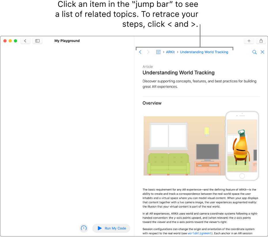 A playground page, showing an open article about ARKit in the developer documentation. This page shows the jump bar, for navigating your search path through the documentation.