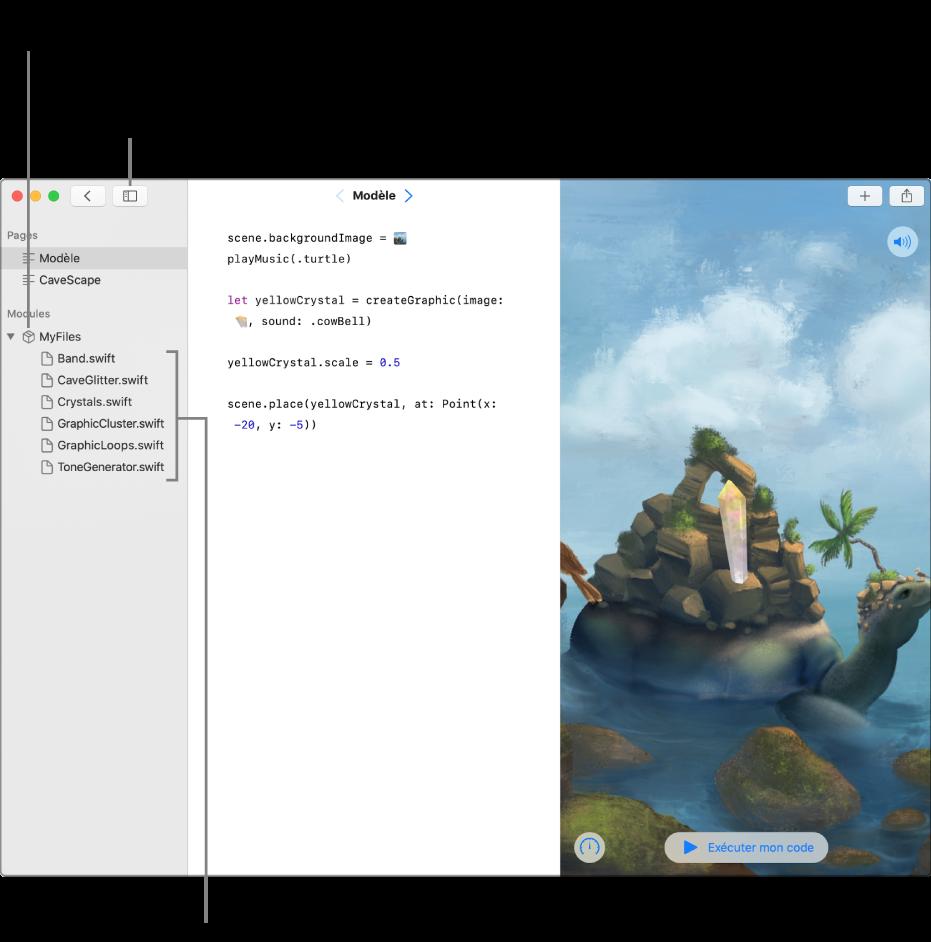 Une page de playground avec la barre latérale et la liste de modules ouvertes, montrant que le playground possède un module de code nommé MesFichiers. Cela affiche également la liste des fichiers Swift du module.