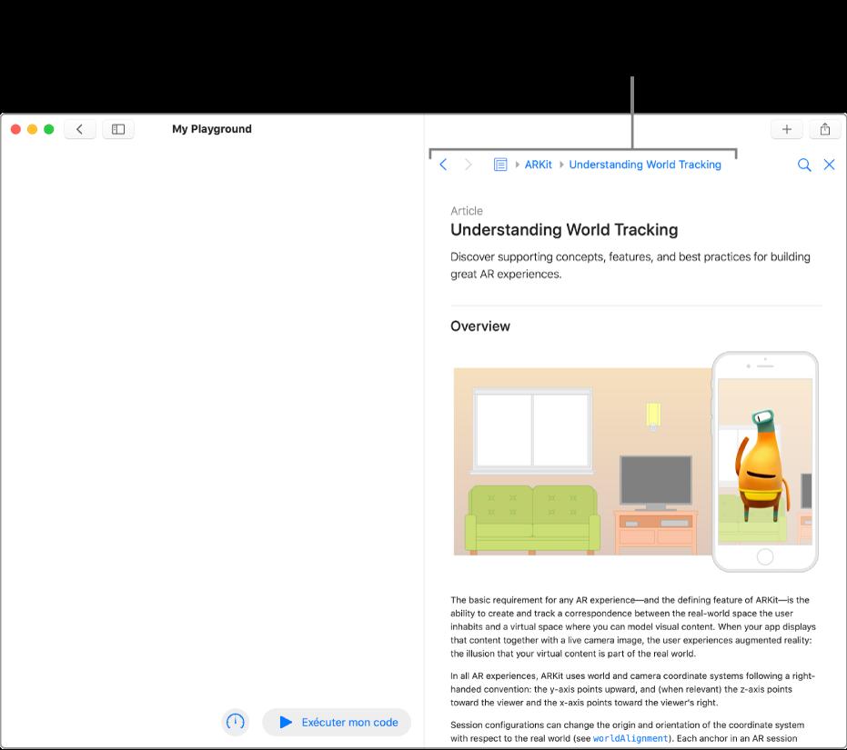 Une page de playground, avec un article ouvert concernant ARKit dans la documentation destinée aux développeurs. Cette page montre la barre d'accès permettant de parcourir ton chemin de recherche dans la documentation.