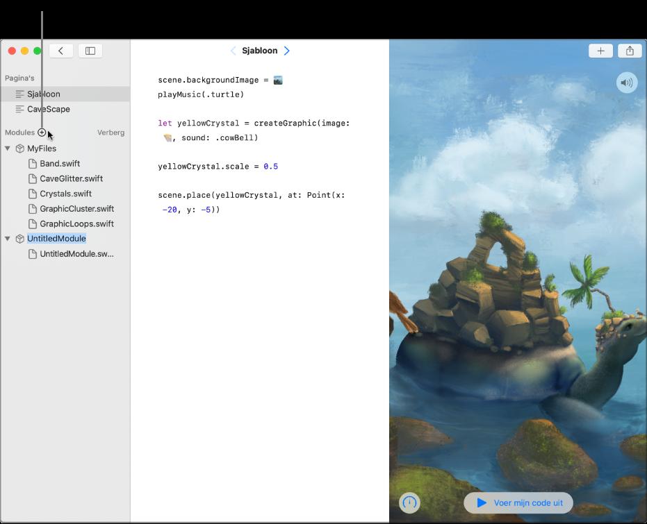 Een playgroundpagina met geopende navigatiekolom met de lijst met pagina's, modules en Swift-bestanden. Bovenaan het gedeelte met modules bevindt zich een plusknop die aangeeft dat je erop kunt klikken om een module toe te voegen. Onderaan het gedeelte met modules in de navigatiekolom bevindt zich een nieuw toegevoegde module. De plaatsaanduidingsnaam 'UntitledModule' is geselecteerd en is klaar om te worden vervangen.