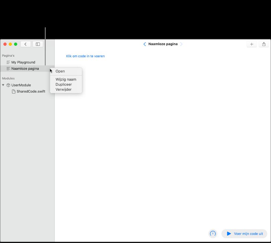 Een playgroundpagina met geopende navigatiekolom met de lijst met pagina's, modules en bestanden. Het contextuele menu is geopend voor een van de pagina's in de navigatiekolom en er zijn commando's zichtbaar voor het openen, hernoemen, dupliceren of verwijderen van de pagina.