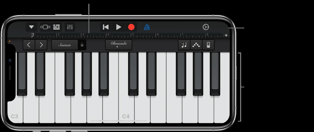 Touch Instrument mit Spielbereich