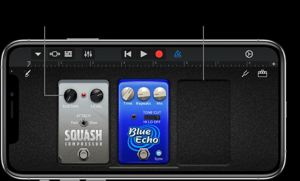 Editierbereich der Effektpedale von Guitar Amp