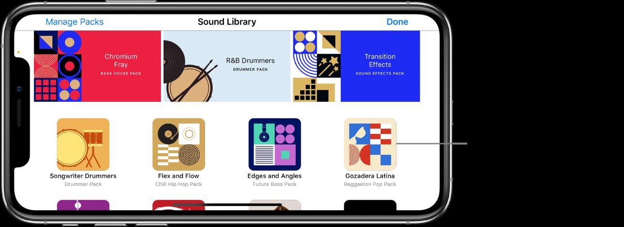 Tippe auf ein Sound-Paket, um eine Kurzbeschreibung und eine Vorschau anzuzeigen.