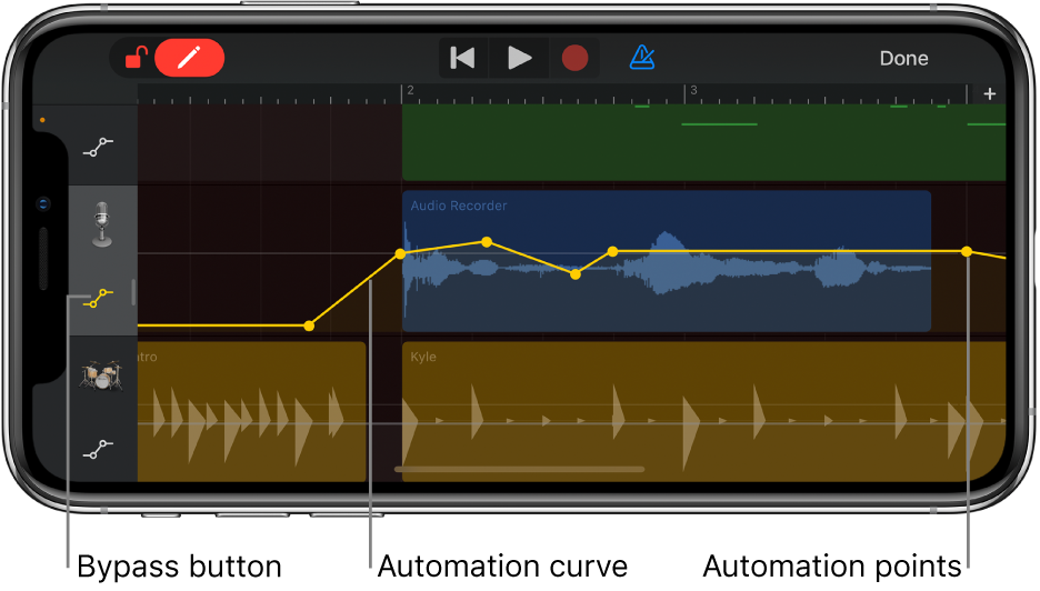 Figure. Track automation, showing automation curves, automation points and the Bypass button.