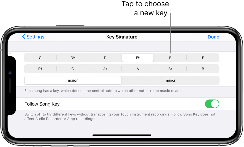 Key controls in Song settings