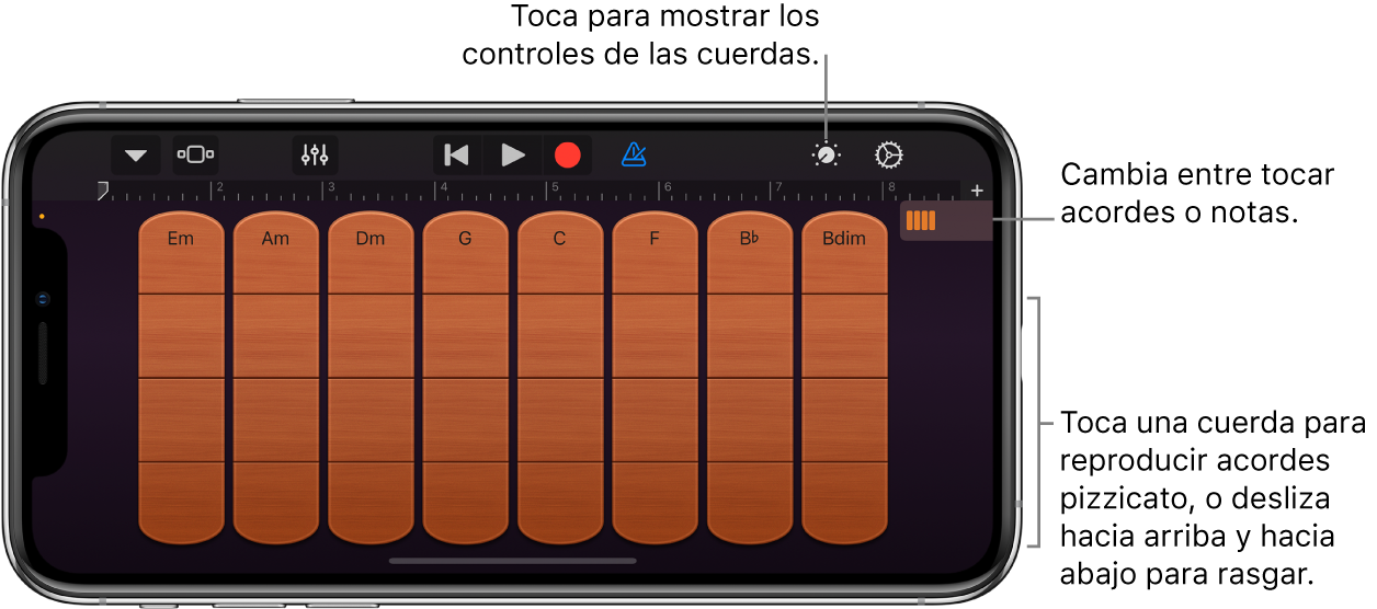 Instrumento táctil Cuerdas