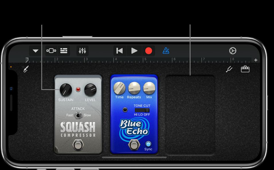 Zona de edición del pedal de efectos del amplificador de guitarra