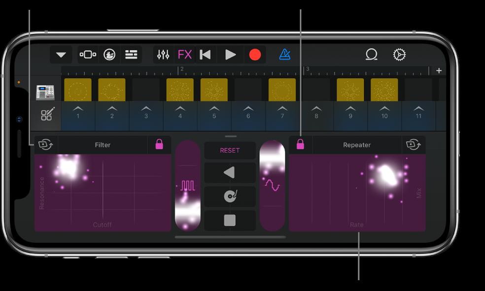 Figura. Tablatura Live Loops mostrando los efectos remix.