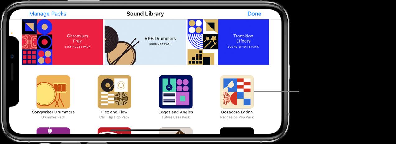 Touchez un paquet de sons pour afficher une brève description et un aperçu.