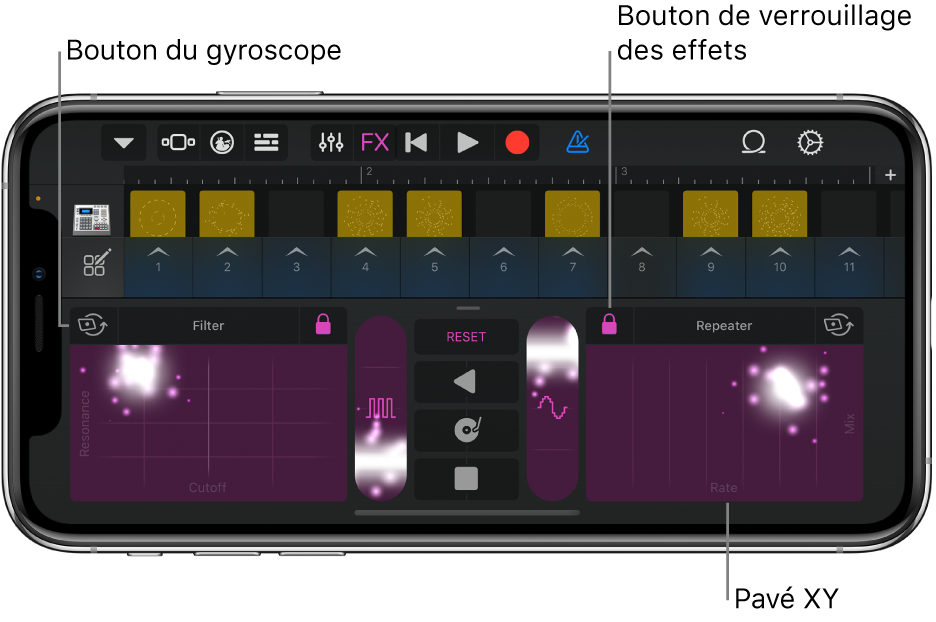 Illustration. Grille LiveLoops avec l'option Remix.