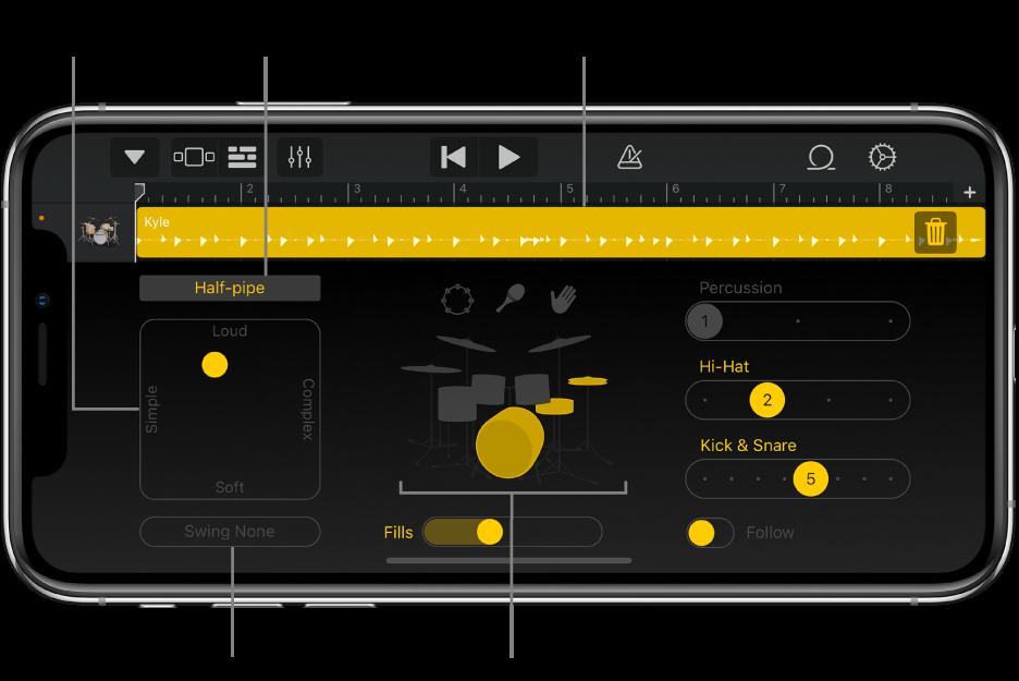 Drummer avec les principales zones d'interface définies par des légendes.