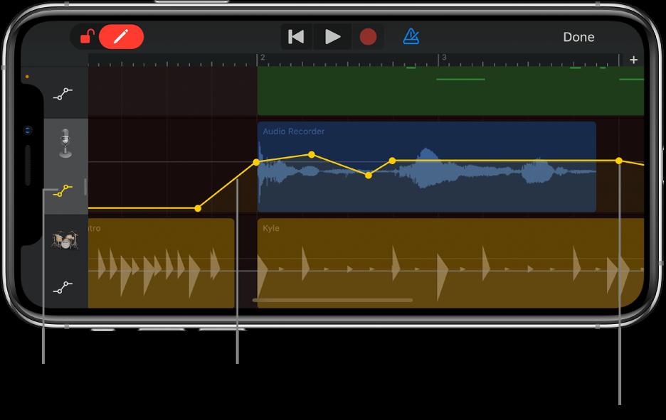 Afbeelding. Automatisering voor een spoor, met daarin automatiseringscurves, automatiseringspunten en de bypassknop.