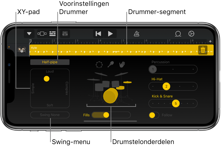 Drummer met uitleg bij de belangrijkste delen van de interface.
