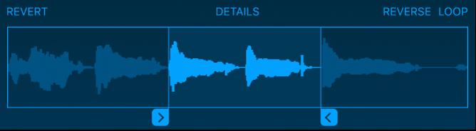 Sleep de blauwe handgrepen om het begin of het einde van de sample in te korten.