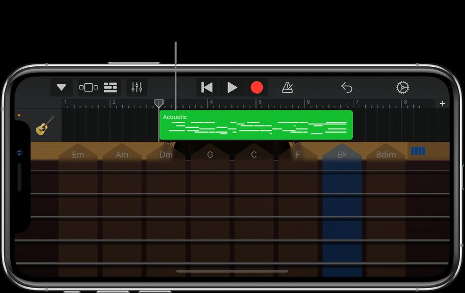 Het bespeelgedeelte wordt naar beneden verplaatst en het segment wordt weergegeven.