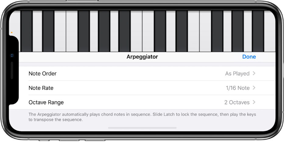 Arpeggiator-kontroller på keyboardet