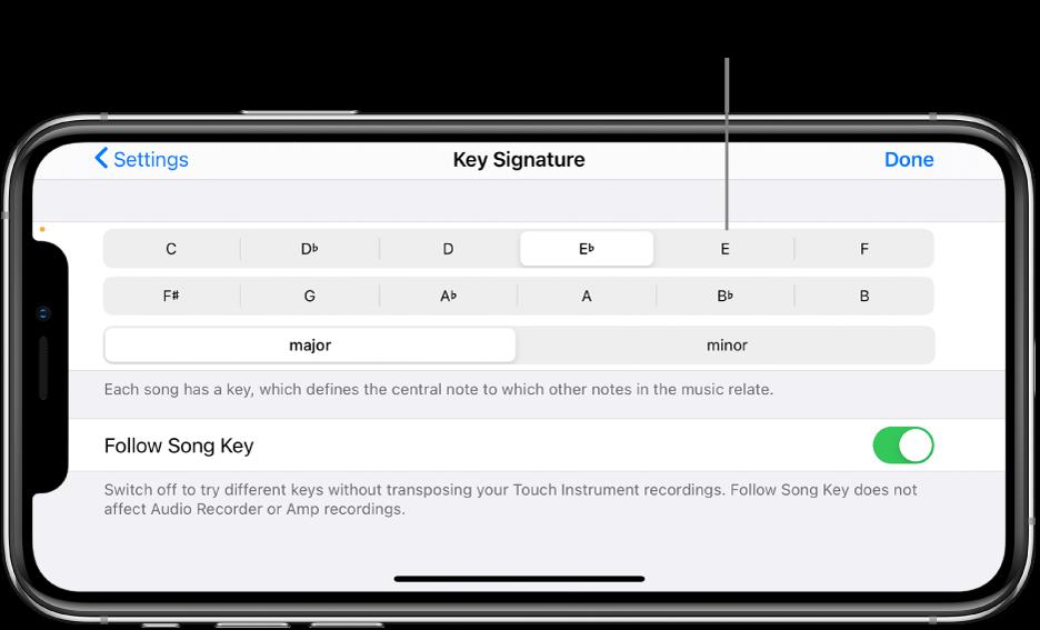 Narzędzia zmiany tonacji wustawieniach utworu