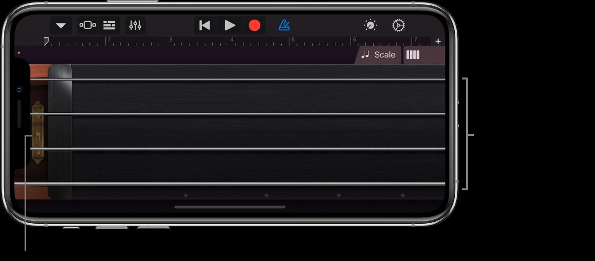 Visualização de notas no Instrumento Touch Cordas