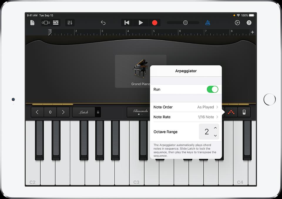 عناصر التحكم في مشغل النغمات التتابعية في لوحة المفاتيح