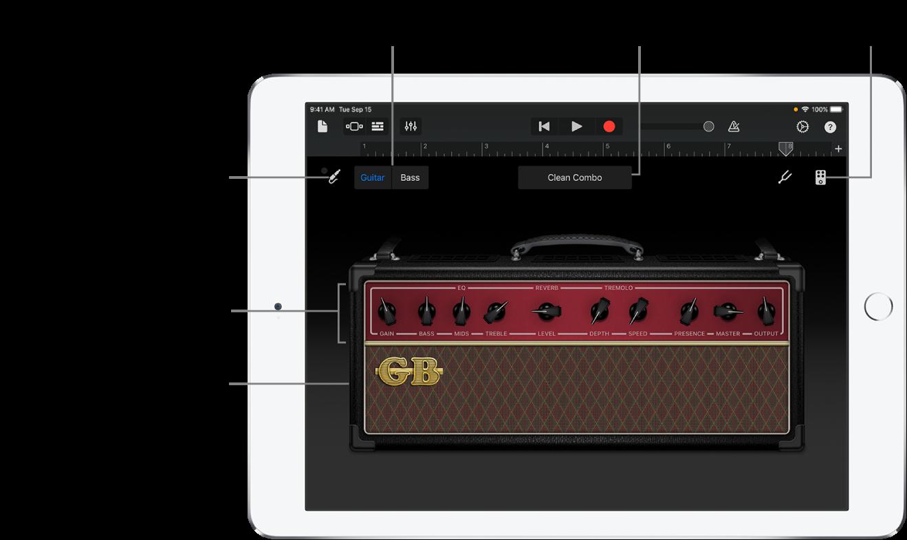 آلة مضخم الغيتار التي تعمل باللمس