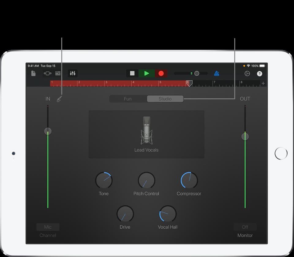 "Ansicht ""Studio"" des Audio-Recorders"