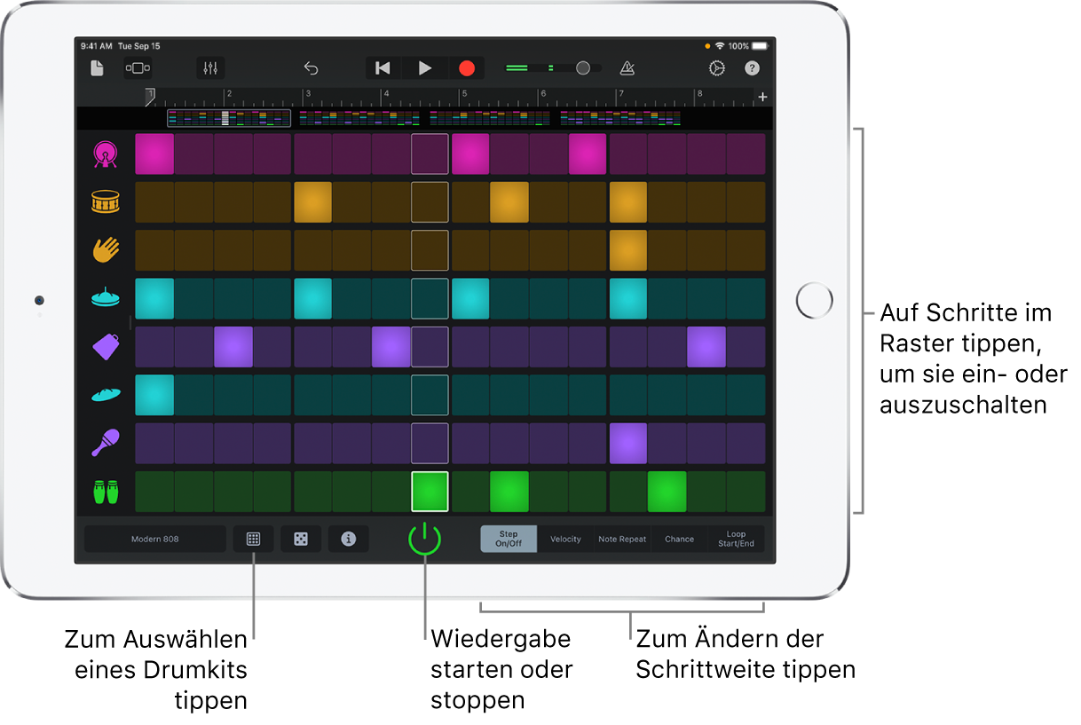 Beat-Sequencer als Touch-Instrument