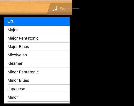 """Taste """"Skala"""" und Tonskalenliste für die Gitarre"""