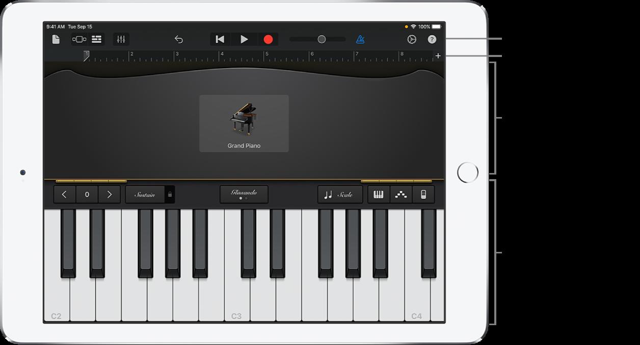 Touch Instrument mit Steuer- und Spielbereich