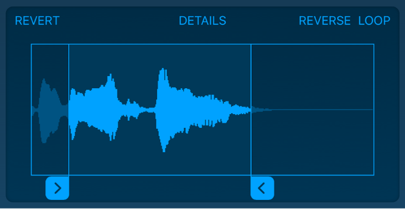 Faites glisser les poignées bleues pour ajuster le début ou la fin de l'échantillon.