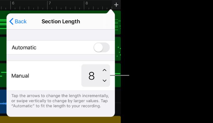 Commandes de modification de la durée d'une section de morceau