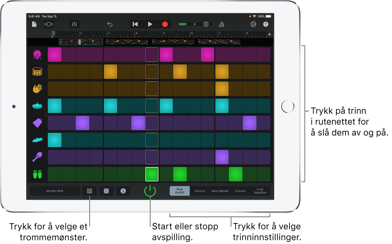 Rytme-sequencer touch-instrument