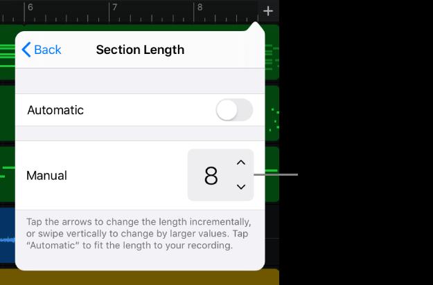 Controles para alterar a duração de uma seção da música