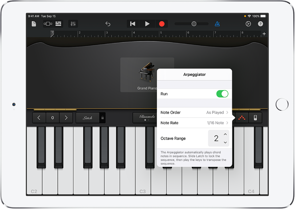 Controlos do arpejador do teclado
