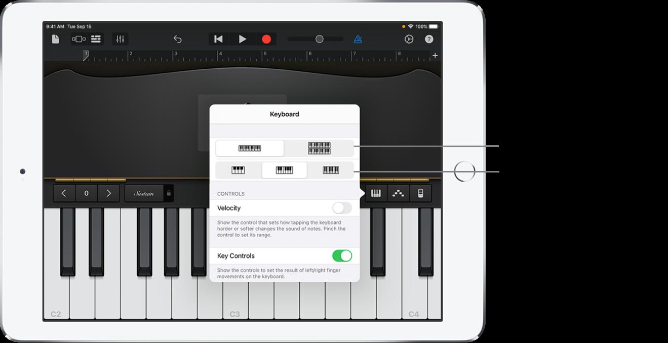 Controlos de disposição e tamanho do teclado