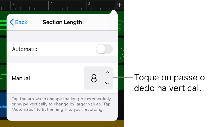 Controlos para alterar a duração de uma secção da música