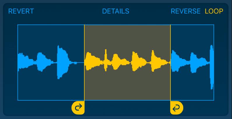O áudio entre os puxadores de loop para a esquerda e para a direita está em loop.