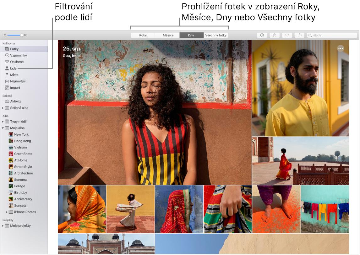 Okno aplikace Fotky sinformacemi orůzných způsobech filtrování fotek valbu