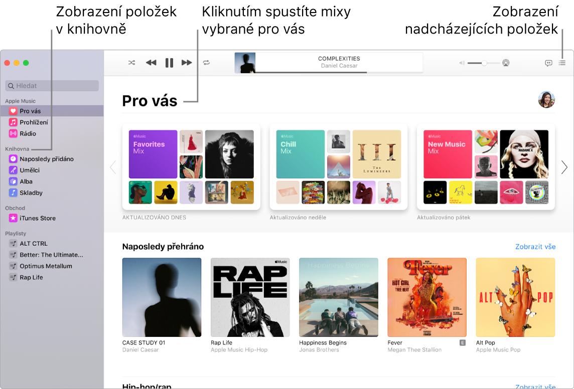 Okno aplikace Hudba sinformacemi otom, jak zobrazit knihovnu, jak poslouchat hudbu zAppleMusic ajak se podívat, co bude hrát dál.