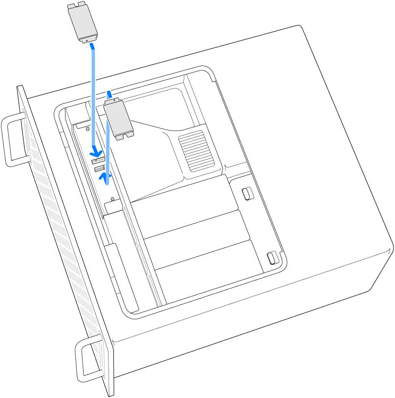 Mac Pro på siden med en illustration af, hvordan to SSD-moduler installeres.