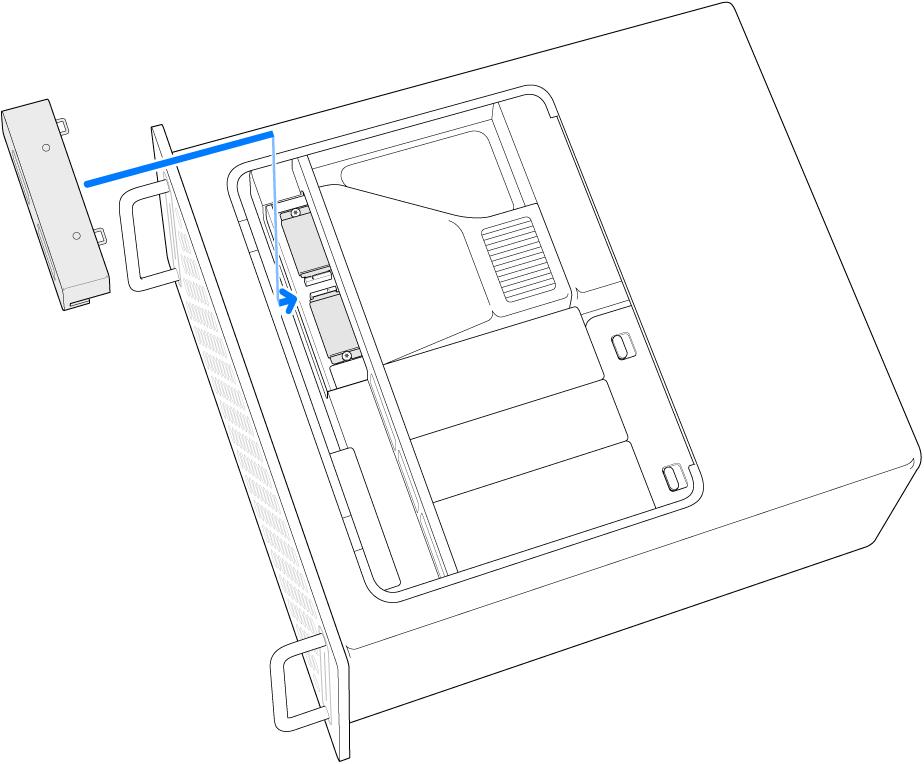 Mac Pro på siden med en illustration af, hvordan SSD-dækslet sættes på igen.