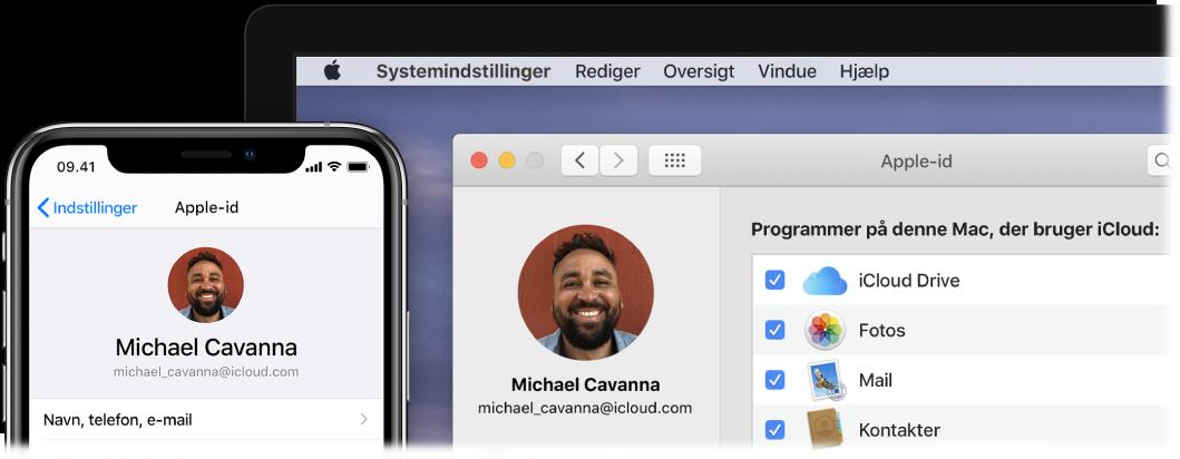 En iPhone viser iCloud-indstillinger og en Mac-skærm viser iCloud-vinduet.