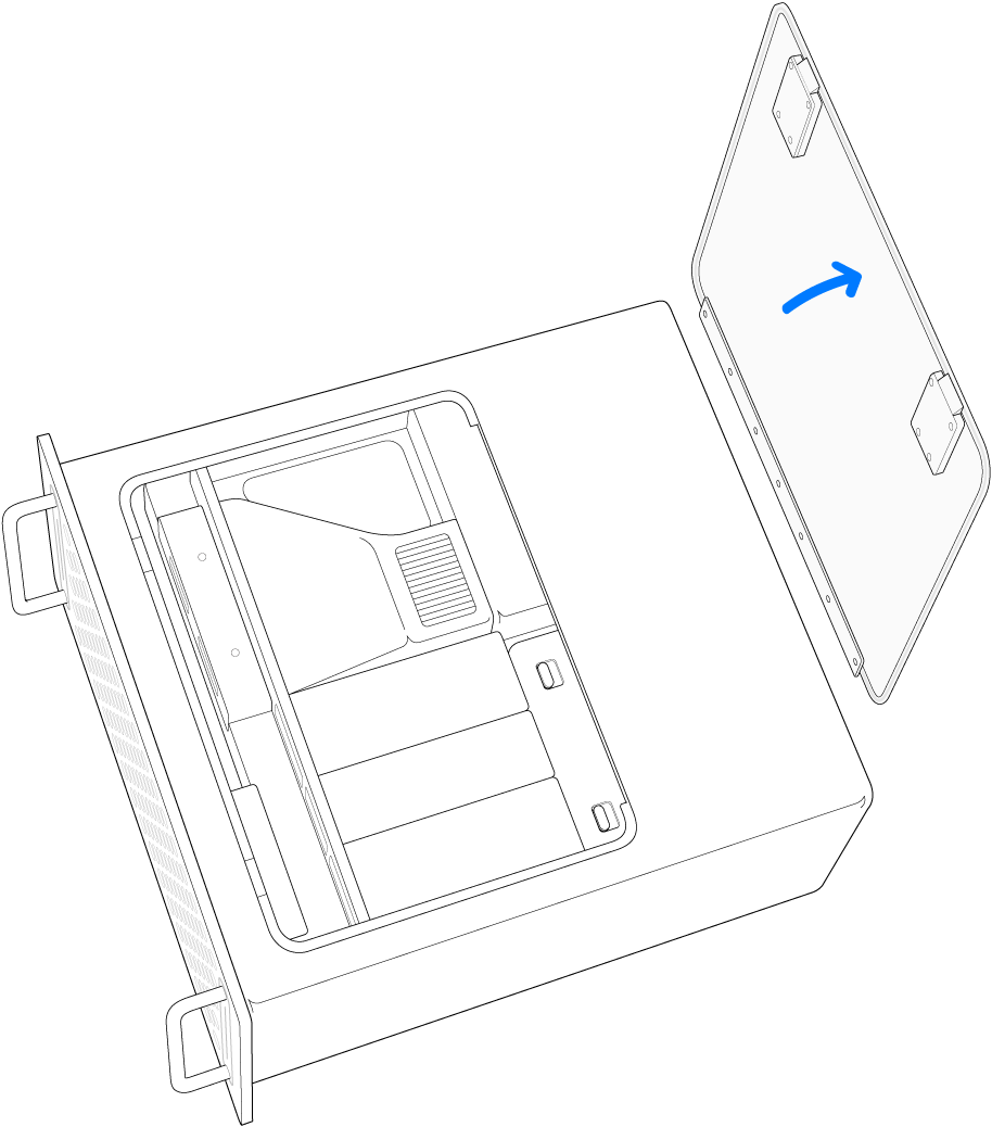 Illustration af Mac Pro på siden, hvor adgangspanelet fjernes.