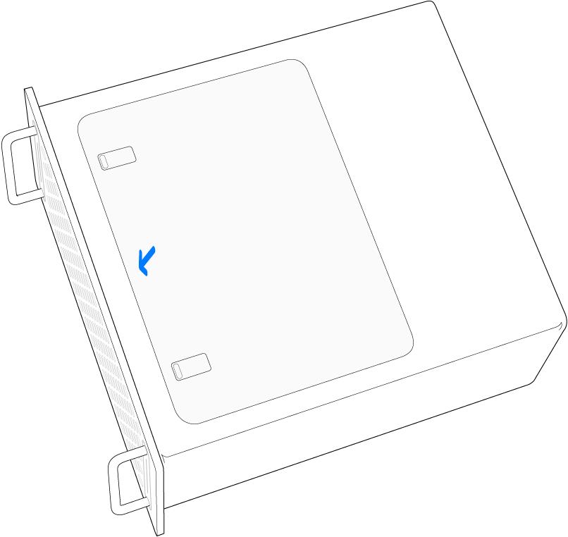 Mac Pro på siden med en illustration af, hvordan adgangspanelet sættes på igen.