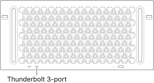 Toppen af Mac Pro, hvor du kan se, hvilken Thunderbolt 3-port du skal bruge.