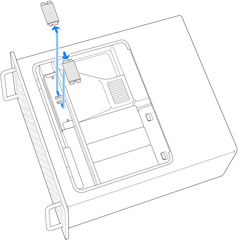 Mac Pro på siden med en illustration af, hvordan to SSD-moduler fjernes.
