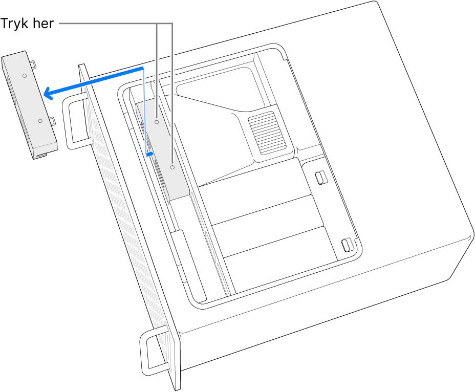 Mac Pro på siden med en illustration af, hvor du skal trykke for at fjerne SSD-dækslet.
