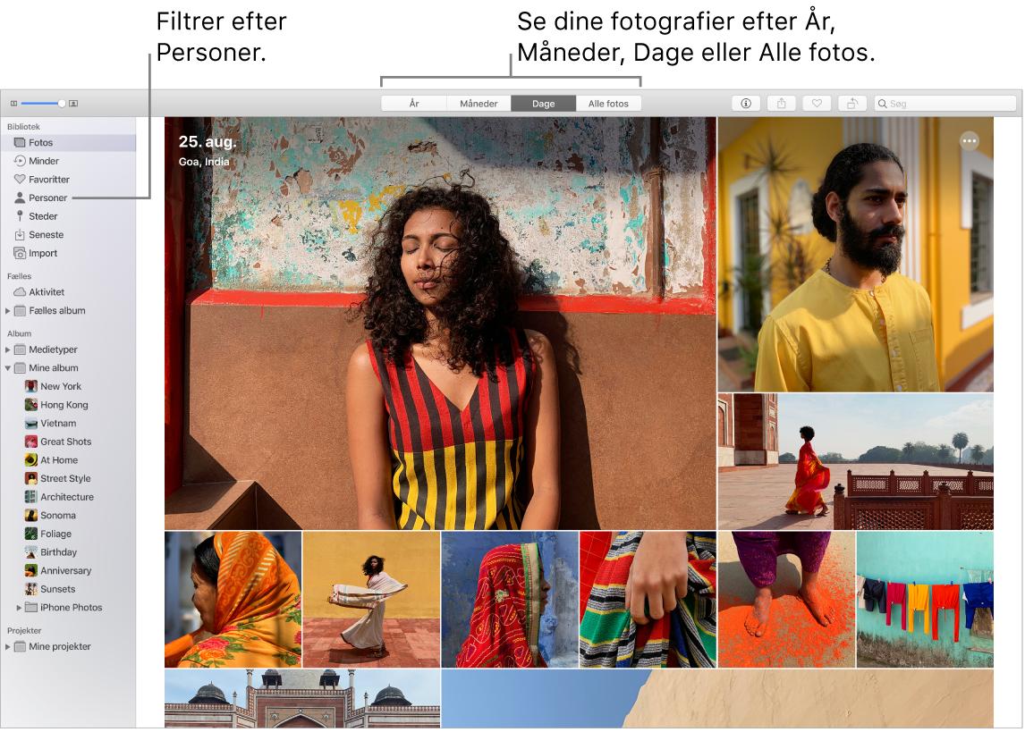 Et Fotos-vindue, der viser, hvordan fotos kan filtreres i dit album på forskellige måder.