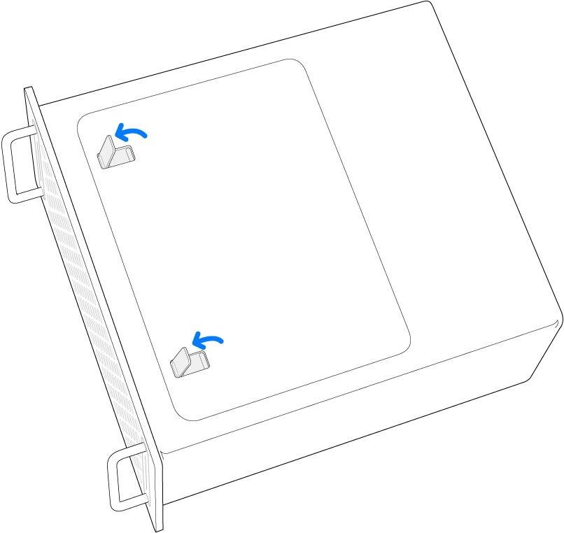 Mac Pro på siden med illustration af, hvordan låsene på adgangspanelet åbnes.
